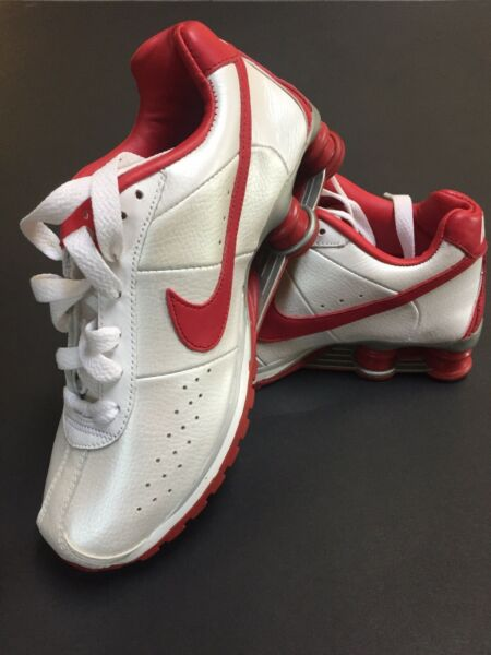 Red And White Womens Nike Shock Running Sneakers