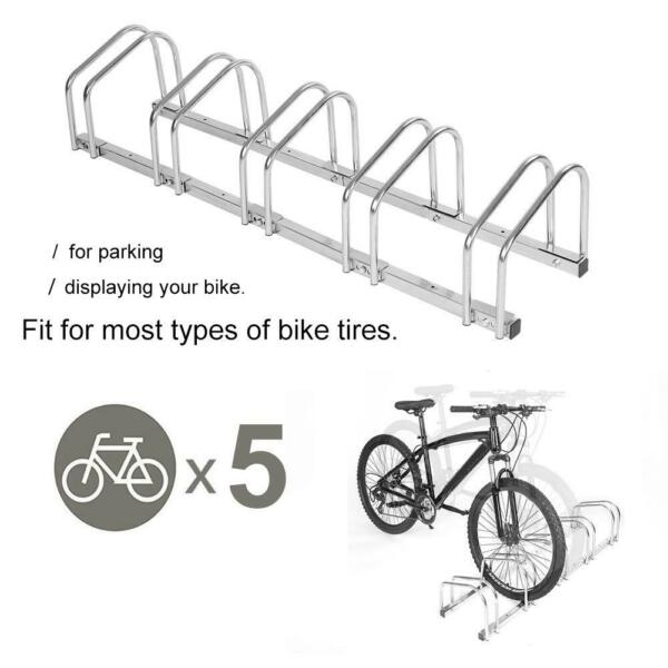 5 Bicycle Rack Stationary Bike Stand Storage Floor Parking Indoor Outdoor Home $52.52