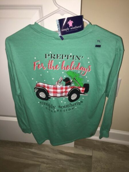 NWT Simply Southern Long Sleeve T Shirt Girls Christmas Preppin Jeep Dog Large L $14.00