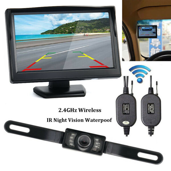 Wireless 5quot; Monitor Car Rear View System Backup Reverse Camera Night Vision Kit