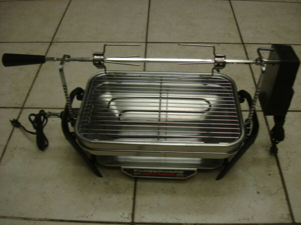 Vtg. Farberware Open Hearth Indoor Electric Rotisserie Grill 450A MINT