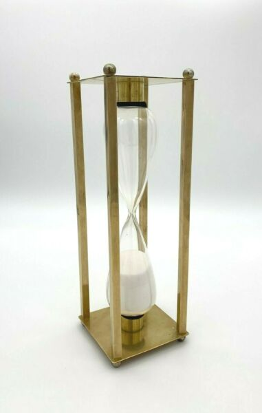 """VTG Brass Art Deco Style 30-Minute Hourglass Sand Timer Large 10"""" Nautical Decor $54.00"""