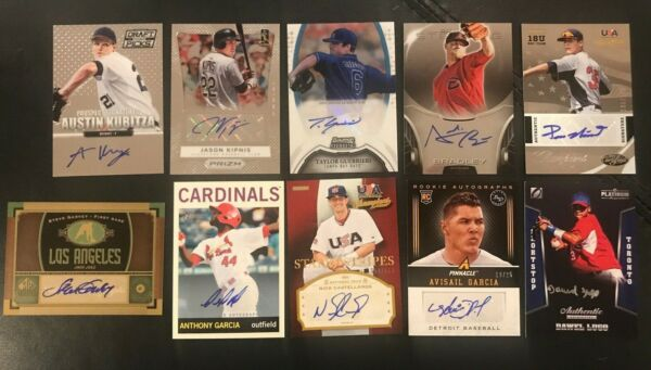Lot Of 10 Different Current Autographed Signed Baseball Cards Mint (hh)