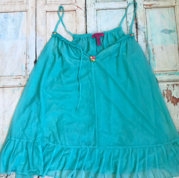 Vintage Betsey Johnson Intimates Baby Doll Blue Sheer Pink Flower