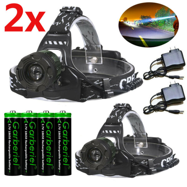 990000LM Zoomable Headlamp T6 LED Headlight Flashlight Torch Charger Battery