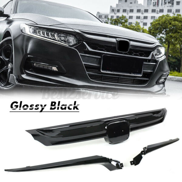 Glossy Black Sport Style Front Grille For Honda Accord Sedan 10th Gen 2018-2020