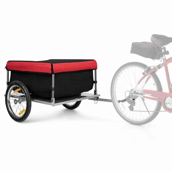 Bike Cargo Luggage Trailer w Folding Frame amp; Quick Release Wheels Red Black $129.99