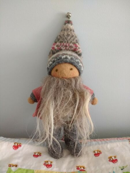 Waldorf Gnome Tomten Boy Doll Handmade Wool Cotton 8 inch Toy Baby Upcycled