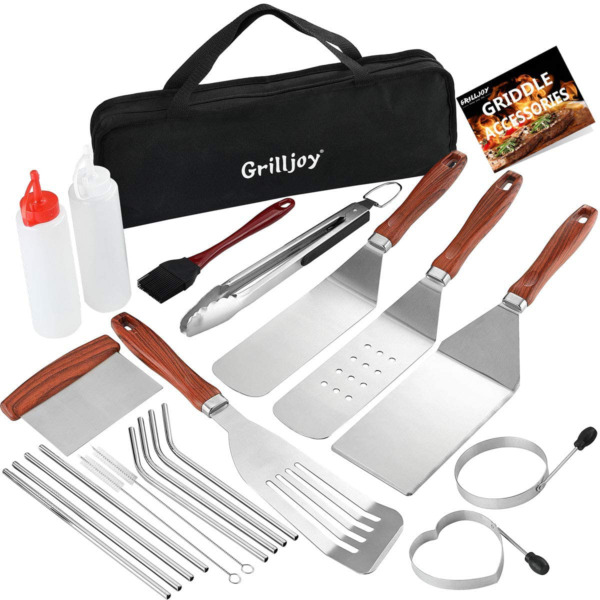 Heavy Duty Grilling Kit Stainless Steel BBQ Utensils Outdoor Accessories Set $27.99