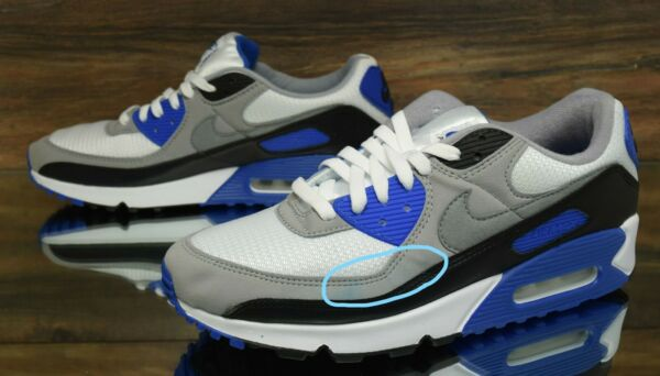 Nike Air Max 90 White Grey CD0881-102 Running Shoes Men's Size 11.5 NEW-DEFECT