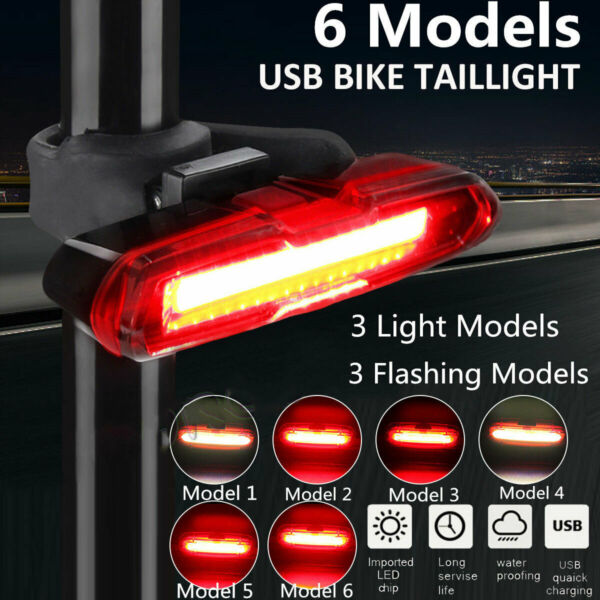6 Modes LED Bicycle Cycling Tail Light USB Rechargeable Bike Rear Warning Light $8.55