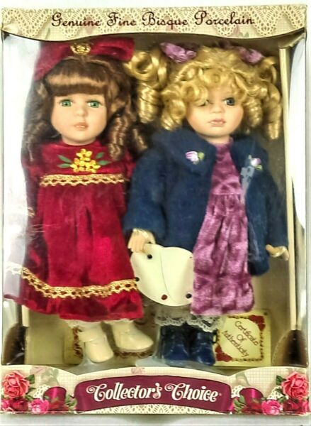 Collectors Choice 2 Fine Bisque Porcelain Dolls By DanDee wStands 10