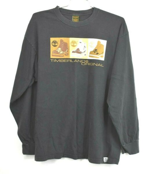 Timberland Mens Black Timberland Original Long Sleeve Front Graphic Shirt Sz L $18.99