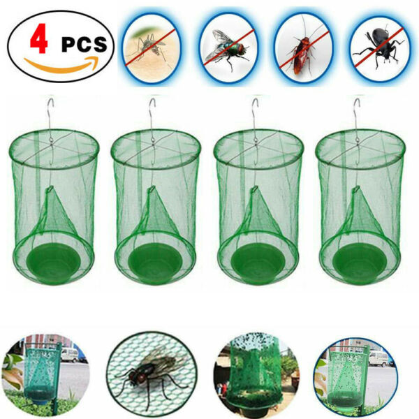 4 x The Ranch Fly Trap Reusable Fly Catcher Killer Cage Net Trap Pest Bug Catch $12.71