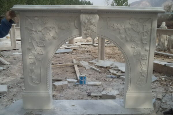 Hand carved Marble French Fireplace Mantel White Marble #6245