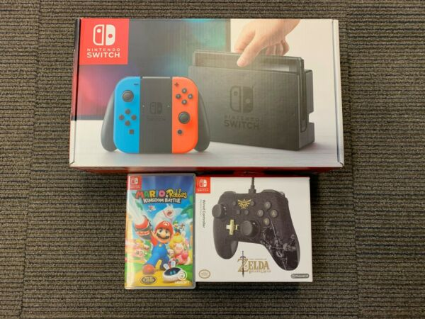 Nintendo Switch 32GB Gray Console Bundle w Bonus Game & Zelda Wired Controller