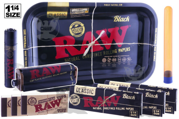 RAW BLACK 10pc Ultimate Kit Tray1.25 PapersLighterTipsRolling MachineTube $24.49