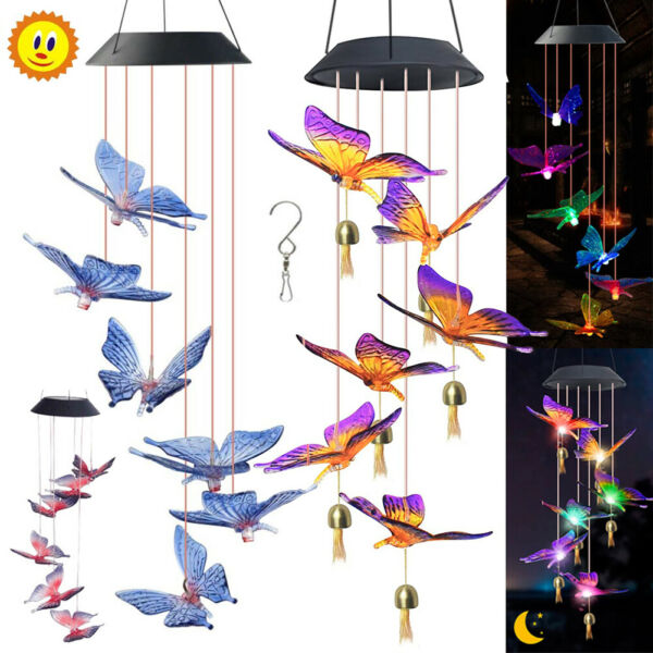 Color Changing LED Solar Powered Wind Chimes Butterfly Outdoor Yard Garden Decor