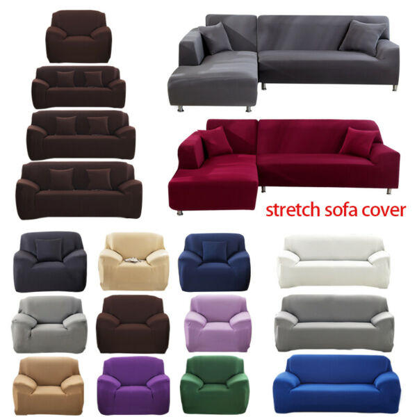 1 2 3 4 Seater Stretch Chair Sofa Covers Couch Cover Elastic Slipcover Protector $26.98