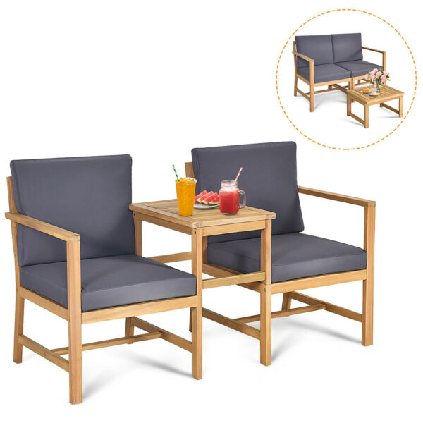 3PCS Patio Table Chairs Set Solid Wood Thick cushion Sectional Garden Deck $159.99