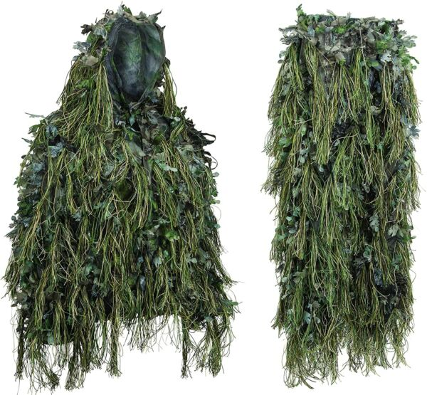 North Mountain Gear Adult Hybrid Ghillie Suit Woodland Green Camo Light Weight