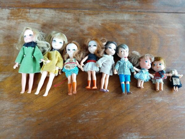 Lot of 9 vintage small dolls Includes 2 Tiny Teen mini dolls from 1967.