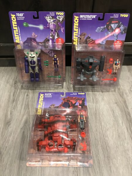 1994 Tyco Battletech  Lot Of 3 Infiltrator Sloth Toad All Sealed Case Fresh