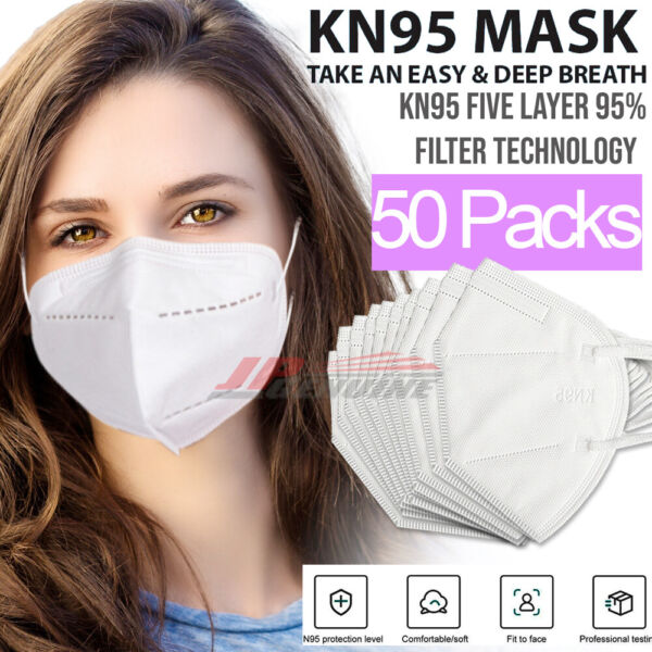 KN95 Protective 5 Layers Face Mask 50 PACK BFE 95% PM2.5 Disposable Respirator $11.99