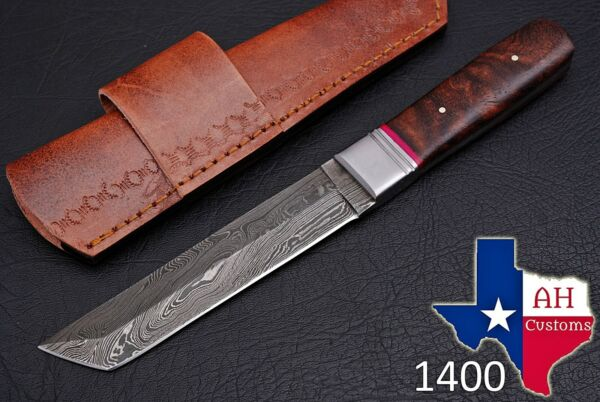 HAND FORGED DAMASCUS STEEL TANTO POINT HUNTING KNIFE amp; WOOD HANDLE AH .1400