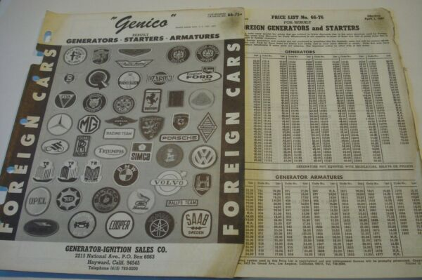 * 1966 Genico Electrical Catalog for Import Car Starters Generators amp; Armatures $7.49