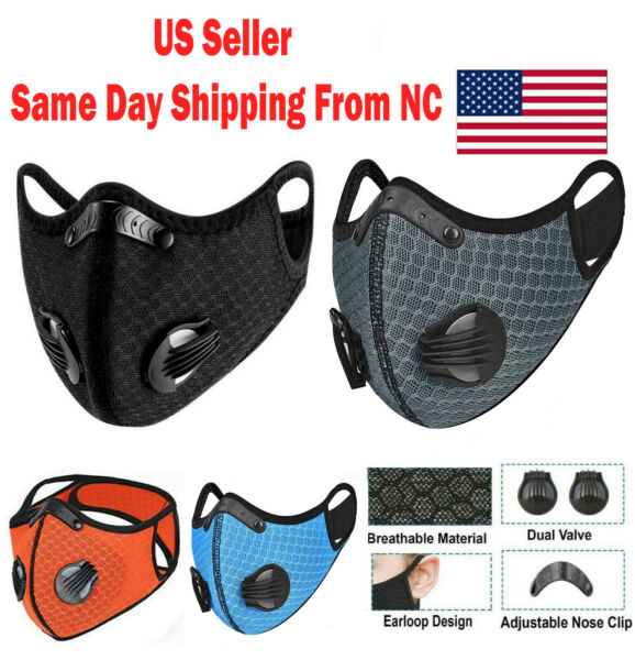 NEW style Cycling Face Mask With Active Carbon Filter Breathing Valves Reusable $10.75
