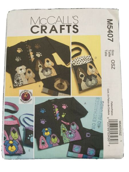 McCall#x27;s 5407 Dog Totes Coats Crafts Applique Sewing Pattern Uncut C $7.99