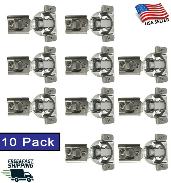 10 Pack Soft Closing Compact 1 2 Overlay 105° Hinge Kitchen Cabinet Hardware $16.99