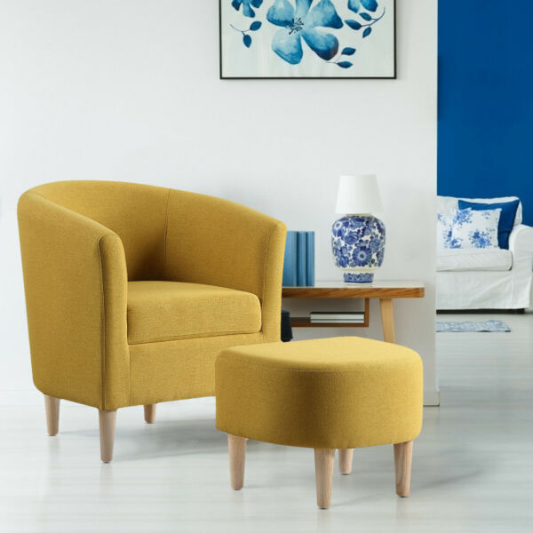 Living Room Modern Accent Chair Linen Fabric Club Single Sofa Chair With Ottoman $149.99