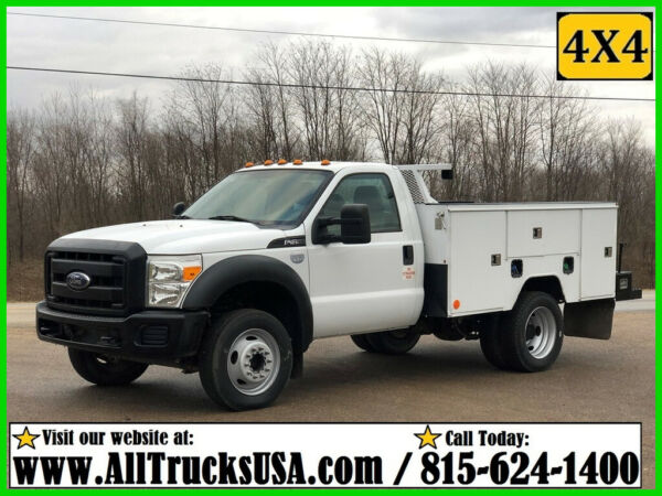 2013 FORD F450 4X4 6.7L POWERSTROKE DIESEL 9' ETI BED SERVICE TRUCK Regular Cab