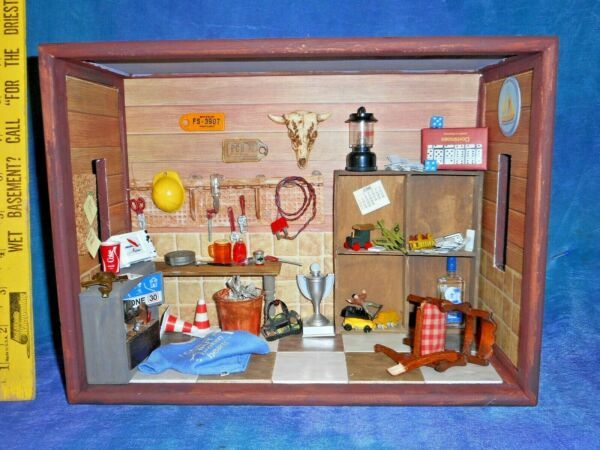 Vintage Artist Roombox Dollhouse Doll House Dad's Basement Man Cave w All Acc!