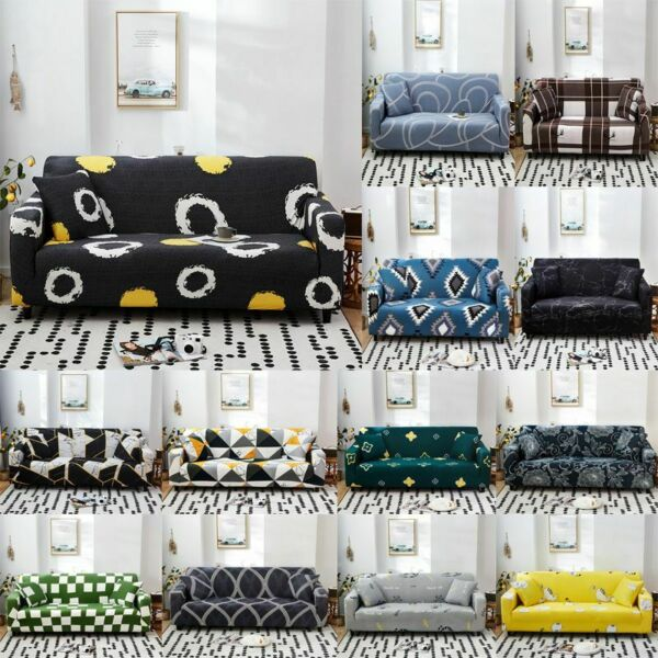 Watercolour Geometric Slipcover Sofa Stretch Couch Cover Furniture Protectors $13.75