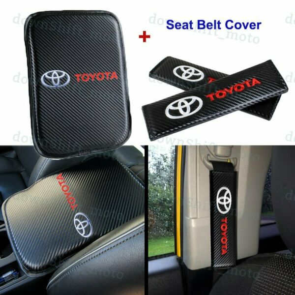 For NEW TOYOTA Carbon Fiber Car Center Armrest Cushion Mat Pad Cover Combo Set $18.99