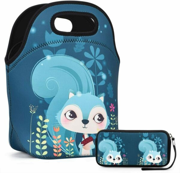Lunch Bag Insulated Lunch Bag With Small Wallte Pouch (Blue Squirrel)