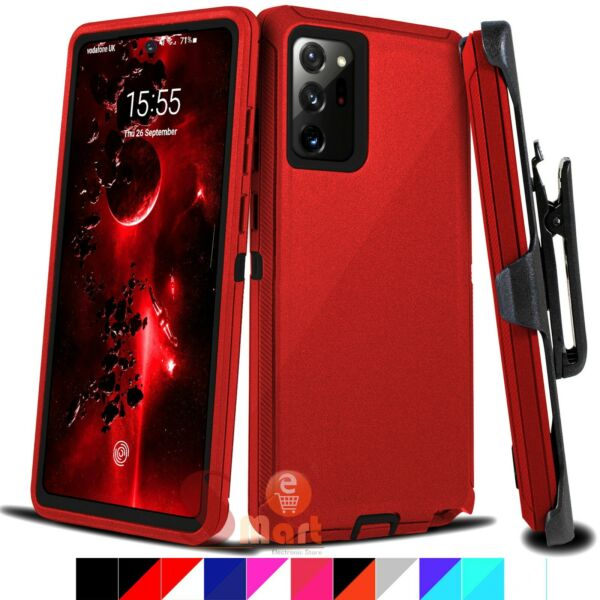 For Samsung Galaxy Note 20 20 Ultra Shockproof Defender Case Cover w Belt Clip