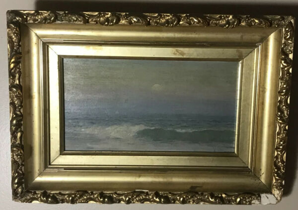 Antique Original Oil on Board Seascape by George Newell Bowers listed artist