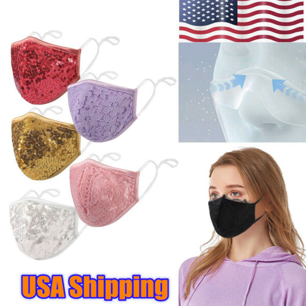 USA Fashion Face Mask Sequin Glitter Bling Cover Nose Mouth Washable Reusable $7.59