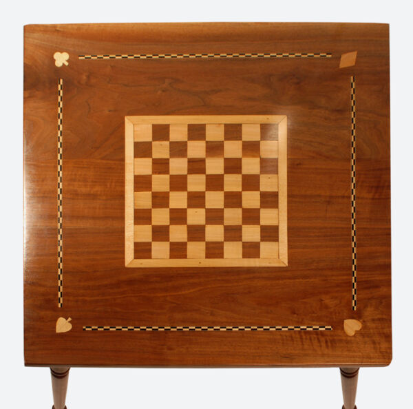 American Folk Art Federal Antique Furniture Inlaid Game Table Checkerboard Table