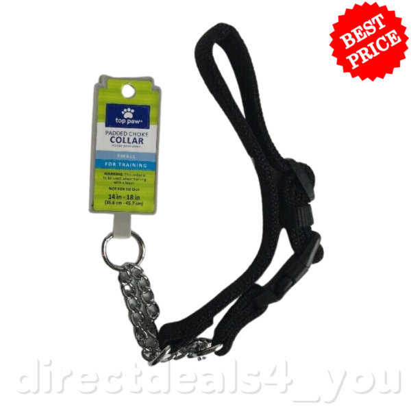 Top Paw Padded Black Chain Dog Collar Small Size $14.99