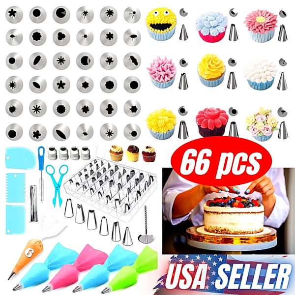 66 pcs Baking Supplies Kit DIY Cake Cupcake Decorating Icing tips Set Tools New