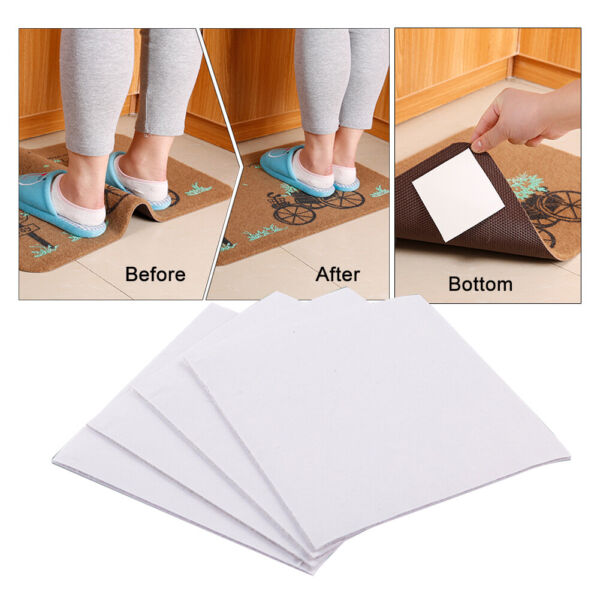 Square Washable Non fabric Rug Grippers Anti slip Reusable Easily Peel Off 4Pcs
