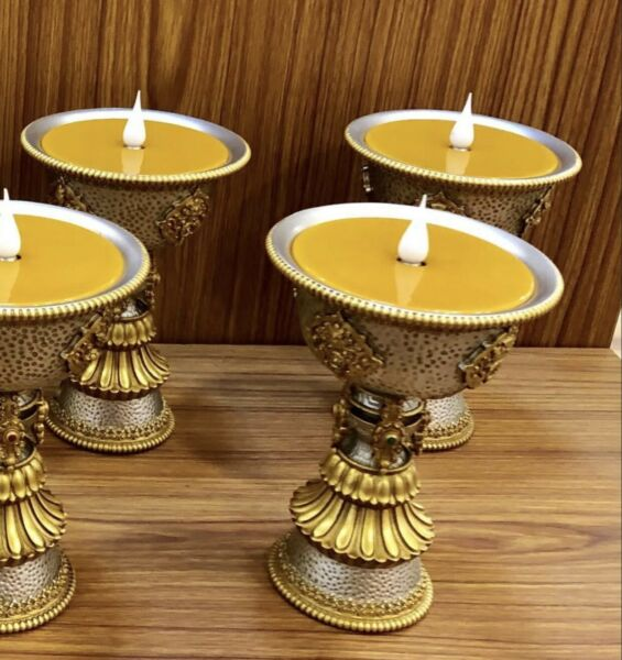 Electric Gold Silver Plated Tibetan Traditional Buddhism Buddhist Butter Lamp $54.99