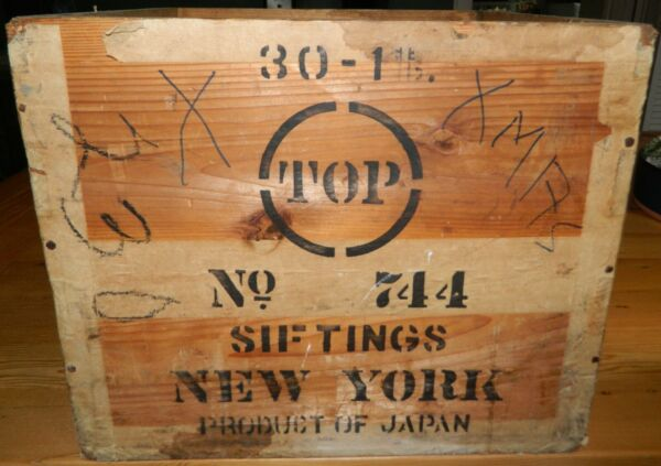 Vintage Wood Crate No 744 Siftings New York Product of Japan