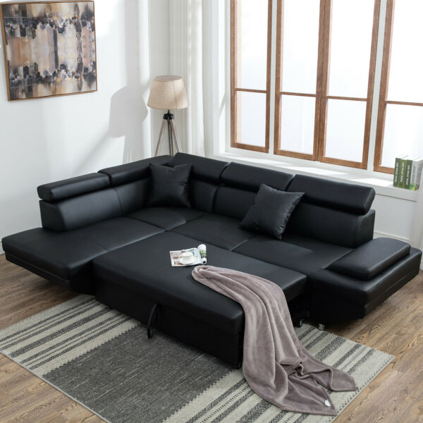 Modern Living Room Sectional Sofa Sleeper Bed Futon Couch Convertible Leather   $1,229.00