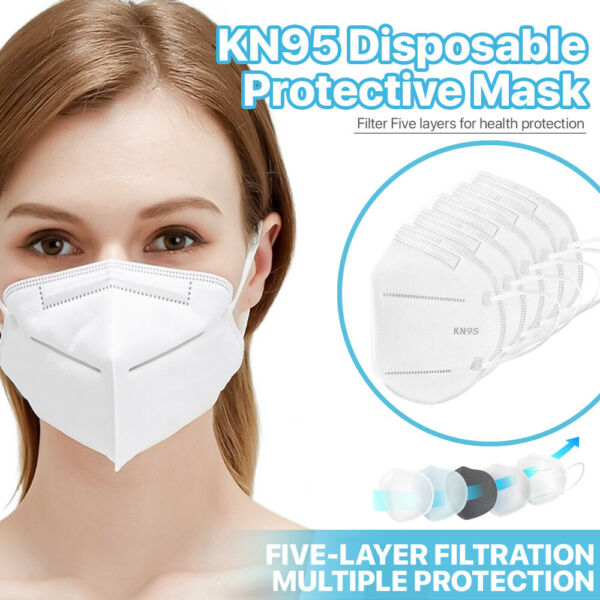 50 Pack KN95 Face Mask 95% Filter Disposable Respirator 5 Ply Protective Cover $12.99